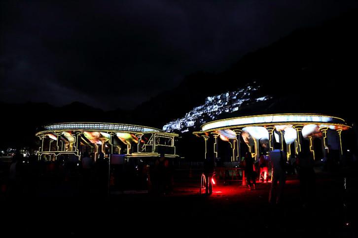 神子畑選鉱場跡プロジェクションマッピング